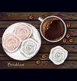 sweet meringues and coffee realistic 3d vector image