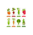 vertical cards or banners set of fresh vegetables vector image vector image