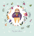 watercolor with cute sloth vector image vector image
