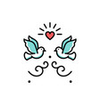 wedding doves love birds icons wedding couple vector image vector image