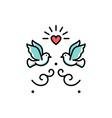 wedding doves love birds icons wedding couple vector image