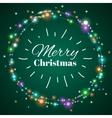 Christmas light wreath decorative lighting vector image