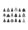 different christmas tree silhouettes isolated on vector image