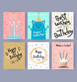 happy birthday collection of creative postcards vector image