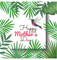 happy mothers day card with hummingbird and floral vector image