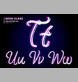 3d glass letters with night neon light effect vector image