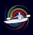 a man kayaking kayak boat kayaker graphic vect vector image