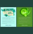 big summer discount posters set sale emblems palms vector image vector image