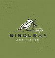 bird leaf vintage aesthetic ink stroke logo icon vector image