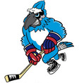 blue jay hockey sports logo mascot vector image vector image