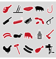 butcher and meat shop black and red stickers set vector image