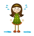 cartoon a little girl crying vector image vector image