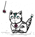 cat robot is going to play with a rope vector image vector image