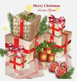 christmas gifts realistic merry christmas vector image
