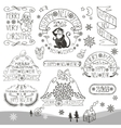 ChristmasNew Year 2016 decorationlabelsLinear vector image vector image
