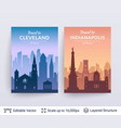 cleveland and indianapolis famous city scapes vector image vector image