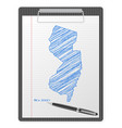 clipboard new jersey map vector image vector image