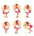 collection retro waitress holding a plate vector image vector image