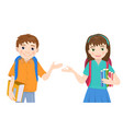 cute cartoon schoolboy and schoolgirl with books vector image