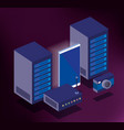 data center technology isometric icons vector image vector image
