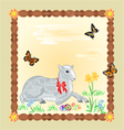 Easter lamb and daffodil Easter frame vector image vector image