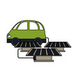 electric car with solar panels vector image