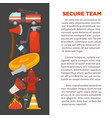 fireman profession and fire secure protection vector image