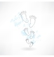 footprints grunge icon vector image