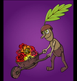 forest oak man wooden handcart full of flowers vector image