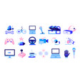gaming icons cartoon electronic devices isolated vector image