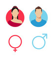 gender icon set with man and women pictograms vector image