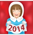 girl new year 2014 vector image