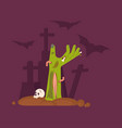 green zombie hand rising out of a grave scary vector image vector image