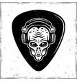 guitar mediator with alien head in headphones vector image vector image