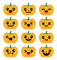 Halloween Kawaii cute pumpkin icons vector image vector image