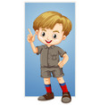 happy boy with finger pointing up vector image vector image