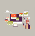 indian businessman headset online trading vector image