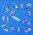 isometric fitness infographics vector image vector image