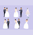 just married newlyweds bride and groom set bride vector image