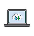 laptop download and upload to cloud icon symbol vector image