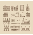 Linear cityscape landscape elements and buildings vector image vector image