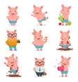 little cartoon pigs characters posing in different vector image vector image