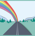 long road and rainbow over mountain and sky vector image vector image