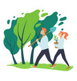 man and woman planting trees and flowers vector image vector image