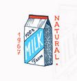 milk label retro packaging vintage logo for shop vector image vector image
