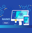 nano technology science and medicine flat banner vector image vector image