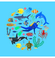 ocean animals and diver vector image vector image