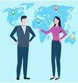 people standing together and talking worldwide map vector image vector image