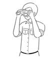 people using binoculars vector image vector image