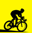racing cyclist - silhouette of bicyclist in race vector image vector image